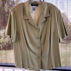 Sag Harbor button down Blouse 1X Tan